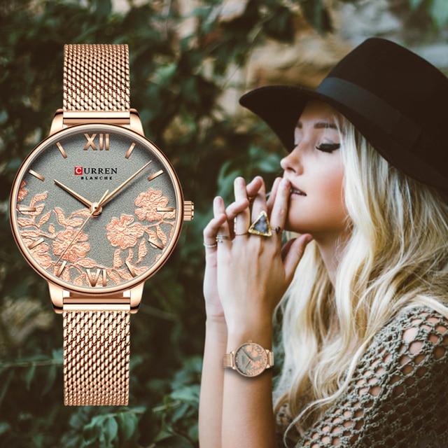 CURREN النساء الساعات العلامة التجارية الفاخرة الفولاذ المقاوم للصدأ حزام ساعة اليد للنساء ارتفع ساعة أنيقة الكوارتز السيدات علبة ساعات الهدابا