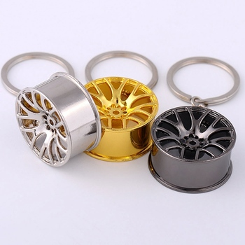 Zinc Alloy Tire Styling Luxury Wheel Hub Key Chain Car Key Ring Auto Modification Parts Key Holder For Ford BMW Audi Auto image