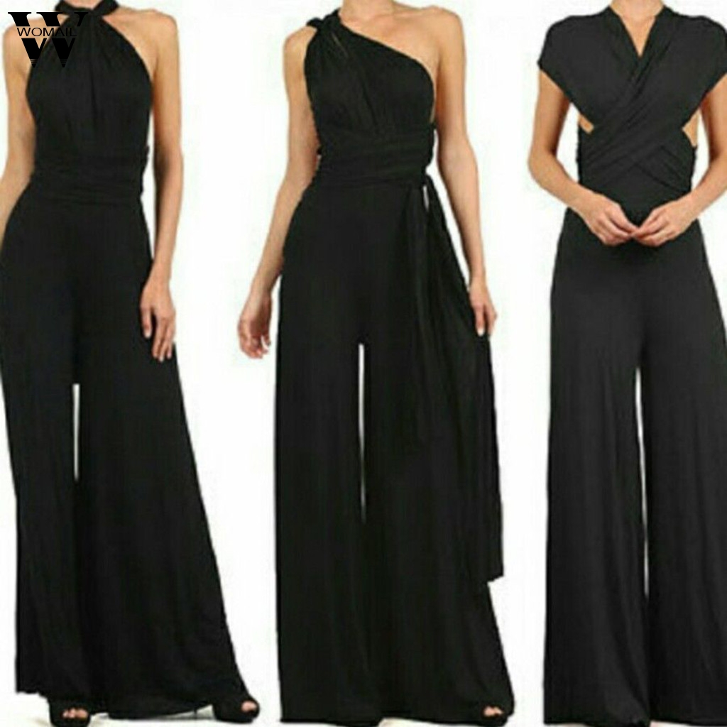 Womail Summer Jumpsuit Women Elegant Sleeveless Long Pant Adjustable Black Overall 2020 New Wide Leg Long Playsuit Romper Party