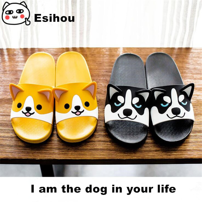 Super Cute Corgi Huskie Sandal Cartoon Original Cosplay Costumes Shoes Summer Lovers Soft Soled Japanese Home Slipper Nice GiftShoes   -