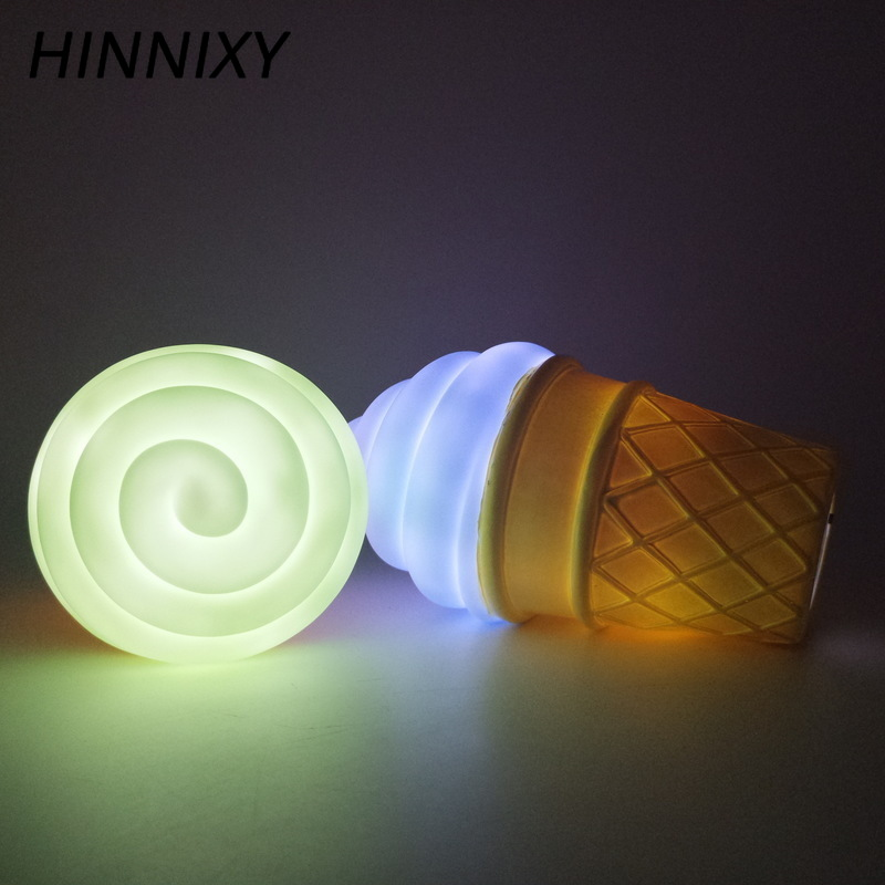 Hinnixy 3D Ice Cream LED Toy Lamp Colorful Kids Bedroom Bedside Decor Lighting Babyroom Emergency Sheep Silicone Night Light
