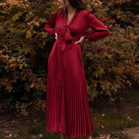 Woman Dress Fashion Vintage RED Satin Pleated V neck Lace up French Long Dress Woman Long Sleeve Dress