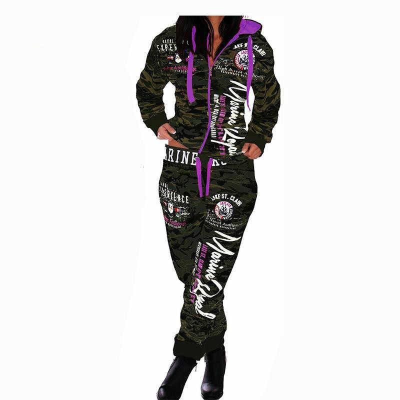 Sudadera de camuflaje con capucha de moda para mujer, juego de sudadera con estampado de nuevas letras, juego de Jogger para primavera y otoño