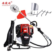 цена на Anjieshun mower four-stroke backpack type small brush cutter multifunctional agricultural gasoline wasteland weeder harvester