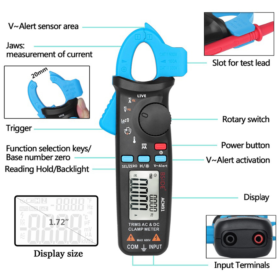 Image 3 - True RMS Mini Digital Clamp Meter BSIDE ACM91 DC AC Current 100A 1mA Accuracy Car Repair Ammeter Voltmeter NCV Tester Multimeter-in Clamp Meters from Tools