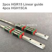 Free shipping 2pcs Linear Rail HGR15 200 250 300 400 500 600 700 800 900 1000 1100mm + 4pcs HGH15CA / HGW15CA Block Cnc Part