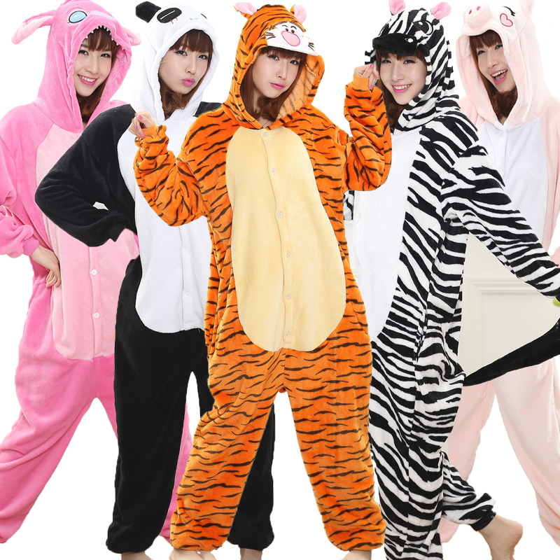 Tiger Kigurumi Unicorn Onesie Adult Teenagers Women Pijama Pajamas Funny Flannel Warm Soft Sleepwear Overall Onepiece Jumpsuit