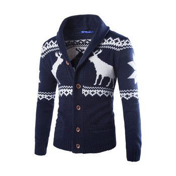 Sweter męski sweter jednorzędowy jesienno-zimowy sweter w dwóch kolorach sweter świąteczny sweter moda dzianina casualowa tanie i dobre opinie JUNSRM CN (pochodzenie) Pojedyncze piersi Standardowy wełny COTTON Zwierząt Skręcić w dół kołnierz vintage PATTERN
