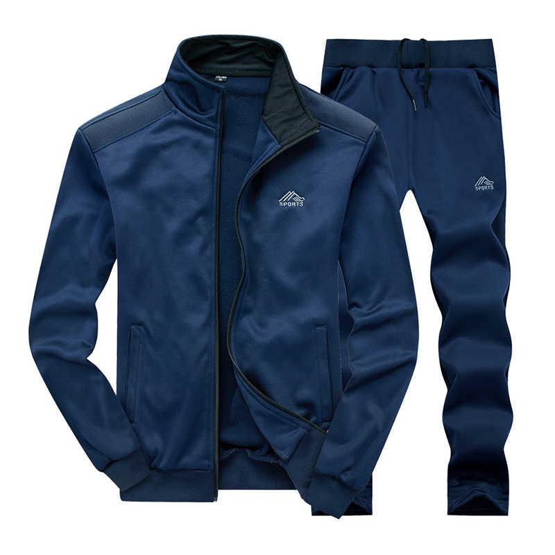 Męski zestaw odzieży sportowej marki męskie dresy sportowe odzież Fitness dwa kawałki bluza z długim rękawem + spodnie Casual męski dres