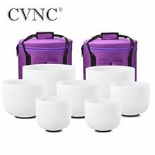 "CVNC מושלם המגרש צ אקרה סט של 7 PCS 8 "" 14"" חלבית קוורץ קריסטל שירה קערות 432Hz עם משלוח 13 ""ו 14"" לשאת שקיות"