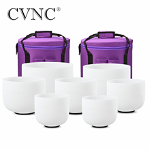 "CVNC Perfect Pitch  Chakra  set of  7 PCS 8"" 14""  Frosted Quartz Crystal Singing Bowls 432Hz with free 13"" and 14"" carry bags"