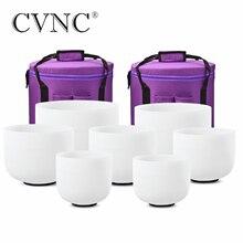 """CVNC Perfect Pitch Chakra zestaw 7 sztuk 8 """" 14"""" matowy kryształ kwarcowy misa dźwiękowa 432Hz z bezpłatnym 13 """"i 14"""" torby do noszenia"""