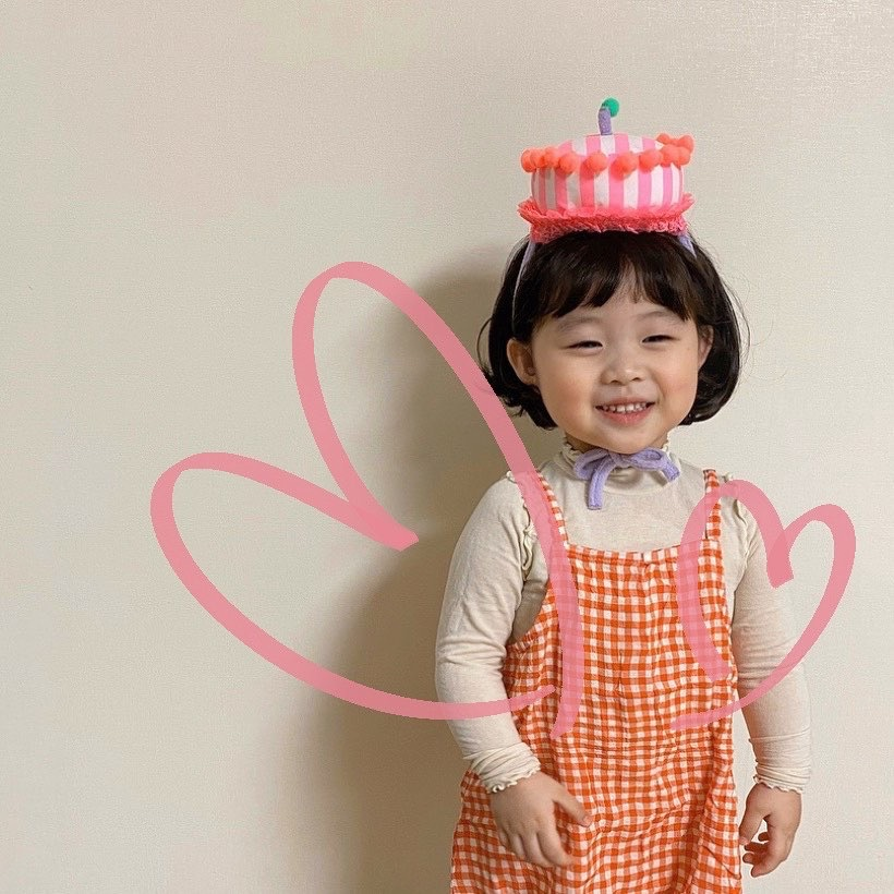 3474 2020 New Korean Cute Children's Hat Baby Birthday Hat Cartoon Cake Shape Striped Custome Hats Baby Girls Boys Hats