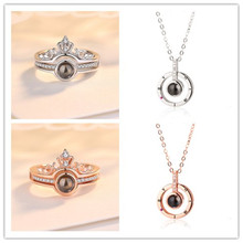 Silver 925 Jewelry 100 Languages I Love You Projection Ring And Pendant Romantic Memory Wedding Set