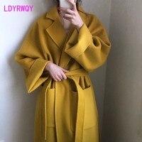 2019 autumn and winter models Korean version of the straps lapel long paragraph ginger coat loose wool coat