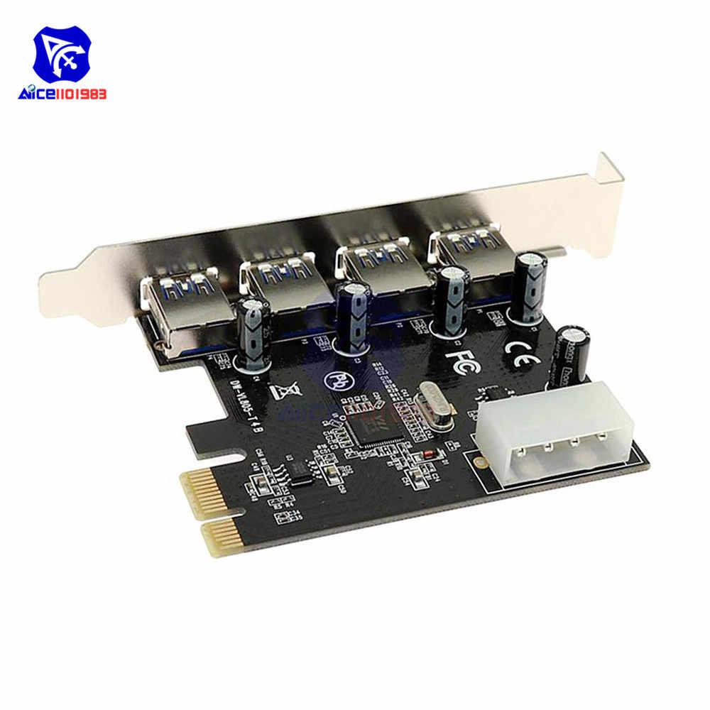 Diymore 4 ميناء USB 3.0 PCI-E بطاقة توسع 4 x USB 3.0 منفذ مهايئ توزيع PCI اكسبرس 5 جيجابايت في الثانية محول عال السرعة بطاقة وحدة التحكم