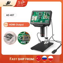 Andonstar AD407 1080P 3D HDMI mikroskop cyfrowy Super duża przestrzeń robocza 7 Cal ekran lutowanie elektroniczne narzędzie do naprawy