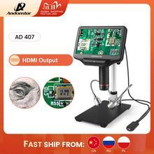 Andonstar microscopio Digital AD407, 1080P, 3D, HDMI, espacio de trabajo súper grande, pantalla de 7 pulgadas, herramienta de soldadura electrónica para reparación