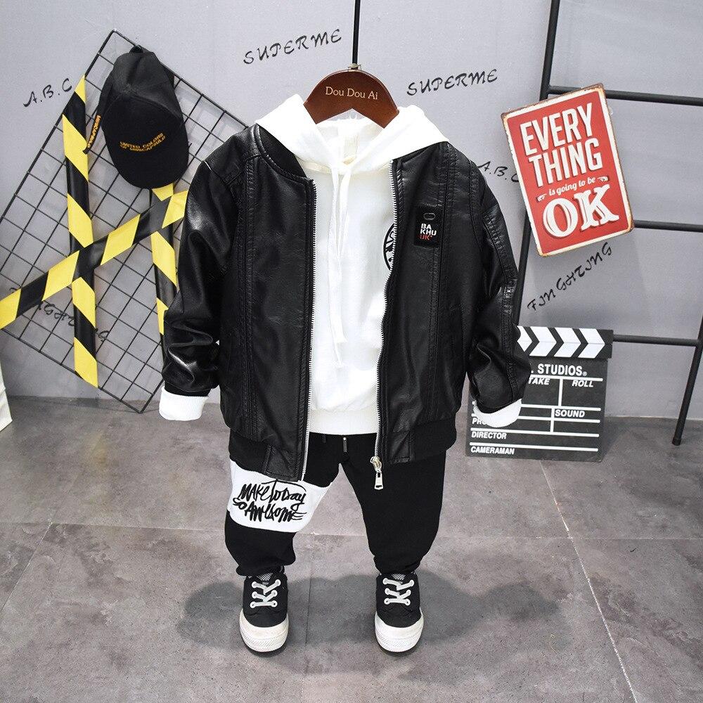 3 pièces WLG garçons vêtements enfants printemps automne noir veste en cuir synthétique polyuréthane blanc sweat et pantalon vêtements ensemble enfants
