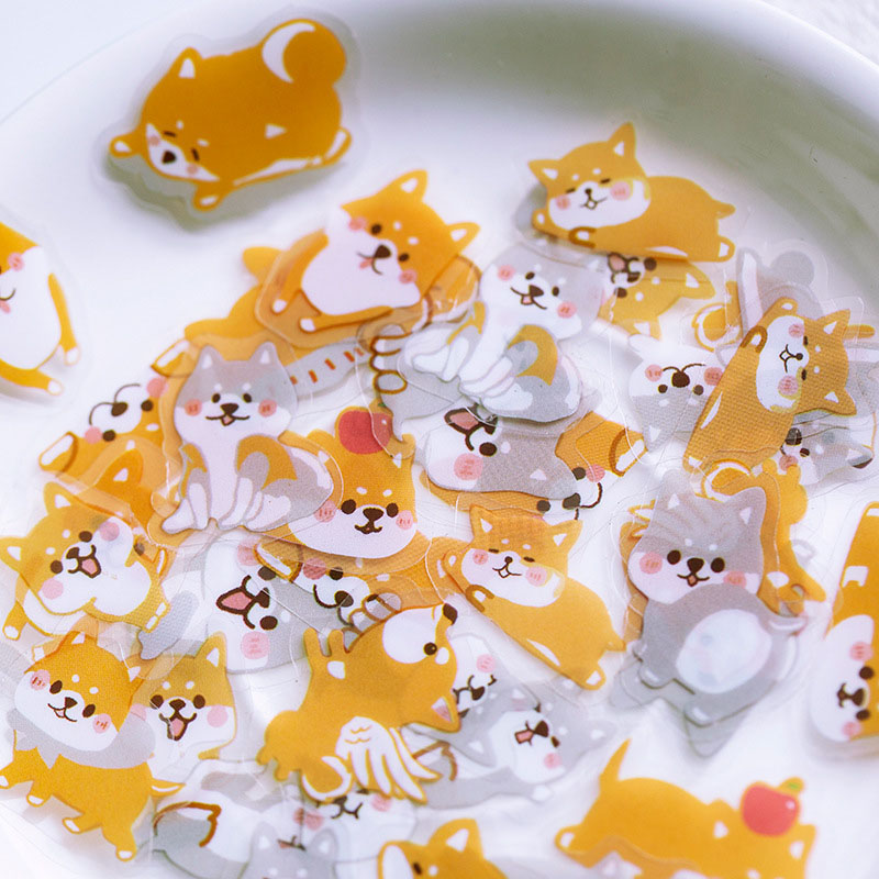 60Pcs Cute Animals Stickers Kawaii Cartoon Cat Dogs Bears Decor Stationery Stickers PET Adhesive Sticker For Kid Diary Supplies