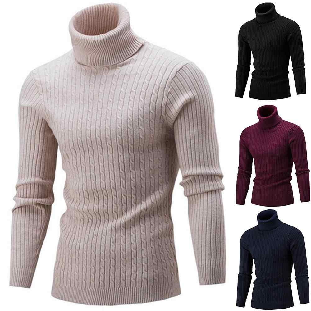 봄 따뜻한 터틀넥 스웨터 남자 패션 솔리드 니트 남성 스웨터 2018 캐주얼 남성 더블 칼라 슬림 풀 오버