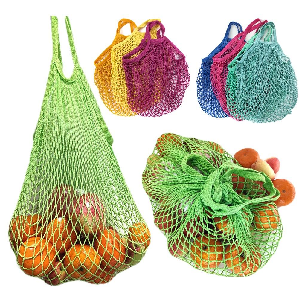 Kitchen Fruit Vegetable Mesh Storage Bag Portable Shopping Bag Reusable Net Handbag