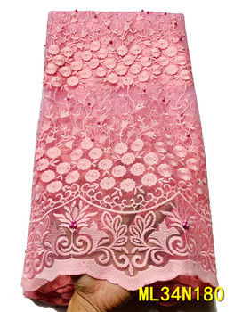 BEAUTIFICAL Pink French net lace fabric 2020 Latest design nigerian embroidery net lace stones lace fabric 5yards ML34N180 фото