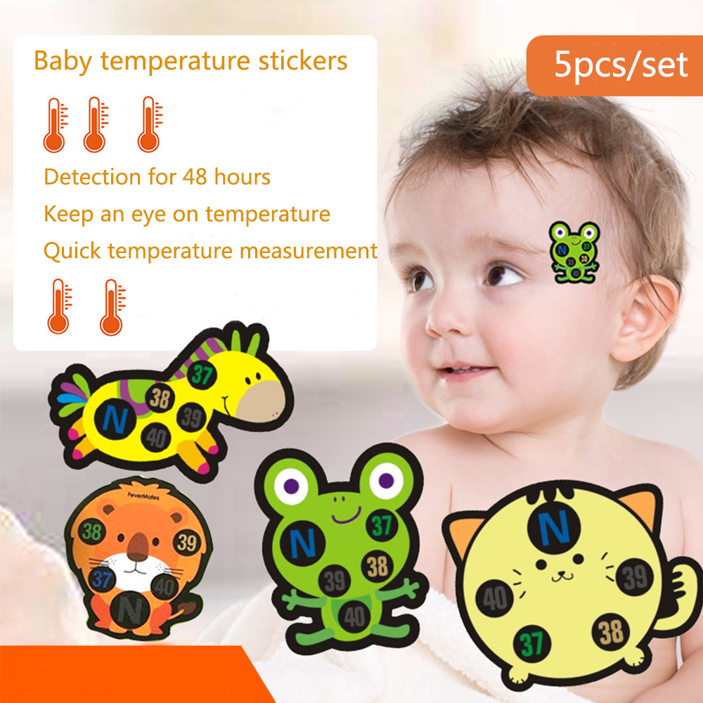 5PCS Baby Kid Forehead Cartoon Head Thermometer Baby Cute Sticker Forehead Head Strip Body Fever Thermometer