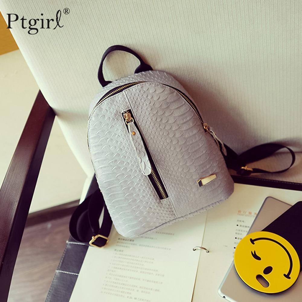 2019 New Backpacks For High School Girls Fashion PU Leather Bags Ptgirl Alligator Mini Backpack Mochila Feminina рюкзак женский