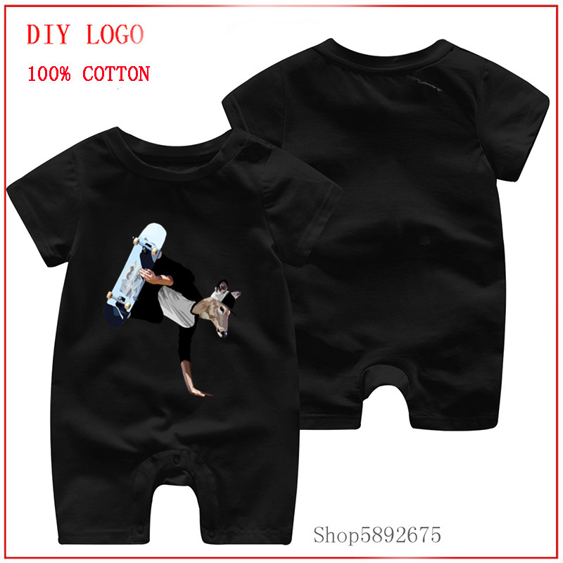 New logo printed with 1Deer Dude Skate T-Shirts 00% Pure cotton and comfortable and cute clothes Newly sale Newborn baby rompers