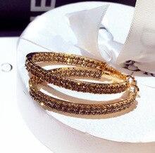 New fashion Korean  large water drill earrings women rhinestone hoop boho african luxury indian jewelry