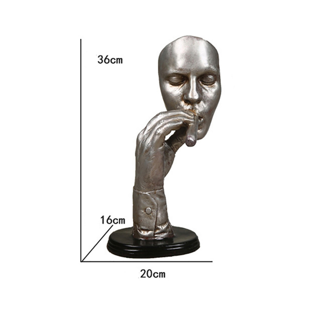 Resin Smoking Man Statue Retro Abstract Sculpture Creative Meditator Smoker Figurines Livong Room Home Decoration Ornaments D035 2