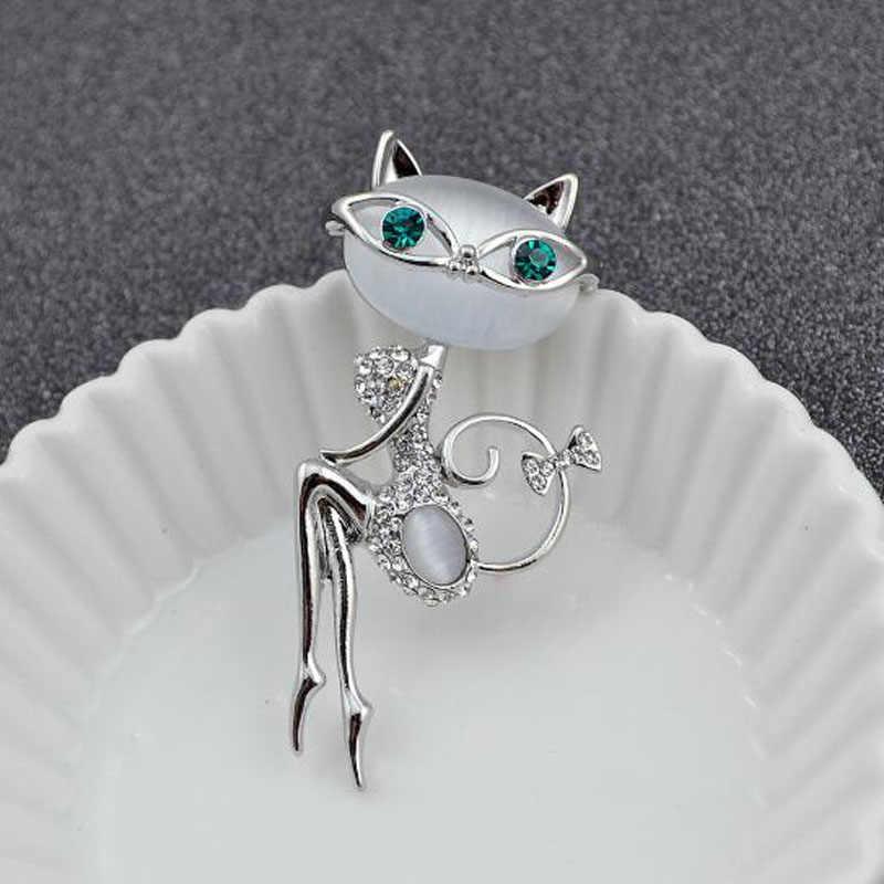 Корейский кристалл кошка брошь женская девочка креативный котенок брошка из горного хрусталя для шляп шарф костюм свадебное платье пальто аксессуары