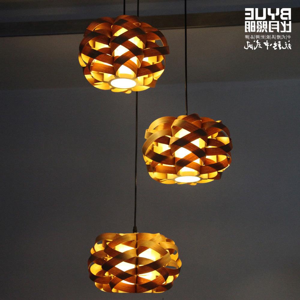 Wood Natural Veneer Bird's-nest Pendant Light Pendant Lights