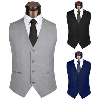 2020 Men's Formal Vintage Style Suit Vest Men Solid Color Sleeveless Back Straps Single-breasted Slim Business Waistcoat
