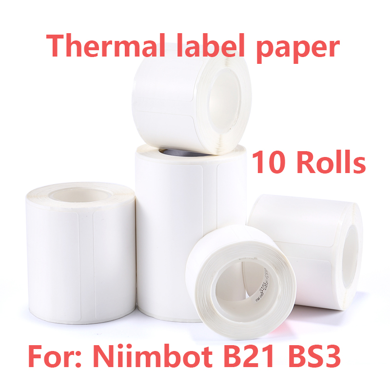 10 Rolls Self-Adhesive Label Paper Multi-Purpose Printable Sticker Labels Waterproof Oilproof Scratchproof Barcode Price Size
