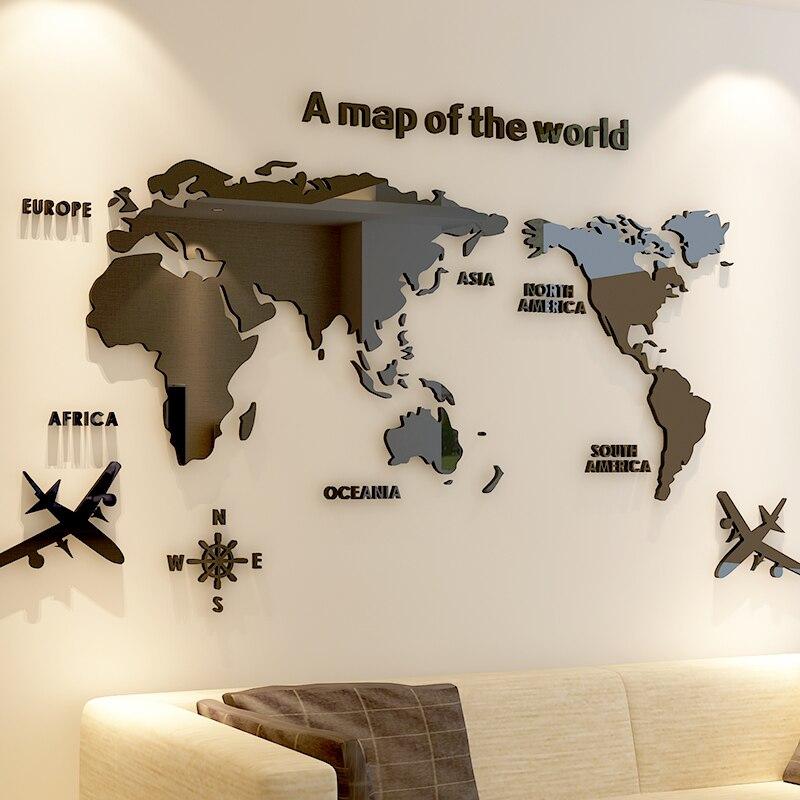 >Creative World Map Acrylic <font><b>Decorative</b></font> 3D Wall Sticker For Living <font><b>Room</b></font> Bedroom Office <font><b>Decor</b></font> 5 Sizes DIY Wall Sticker <font><b>Home</b></font> <font><b>Decor</b></font>