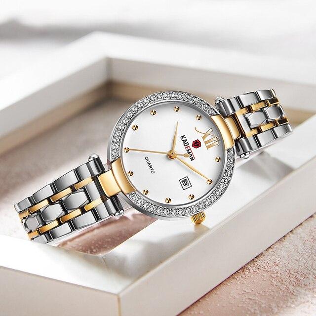 Kademan 2020 vestido de ouro relógio feminino cristal diamante relógios de pulso adies aço inoxidável prata relógio feminino montre femme 1