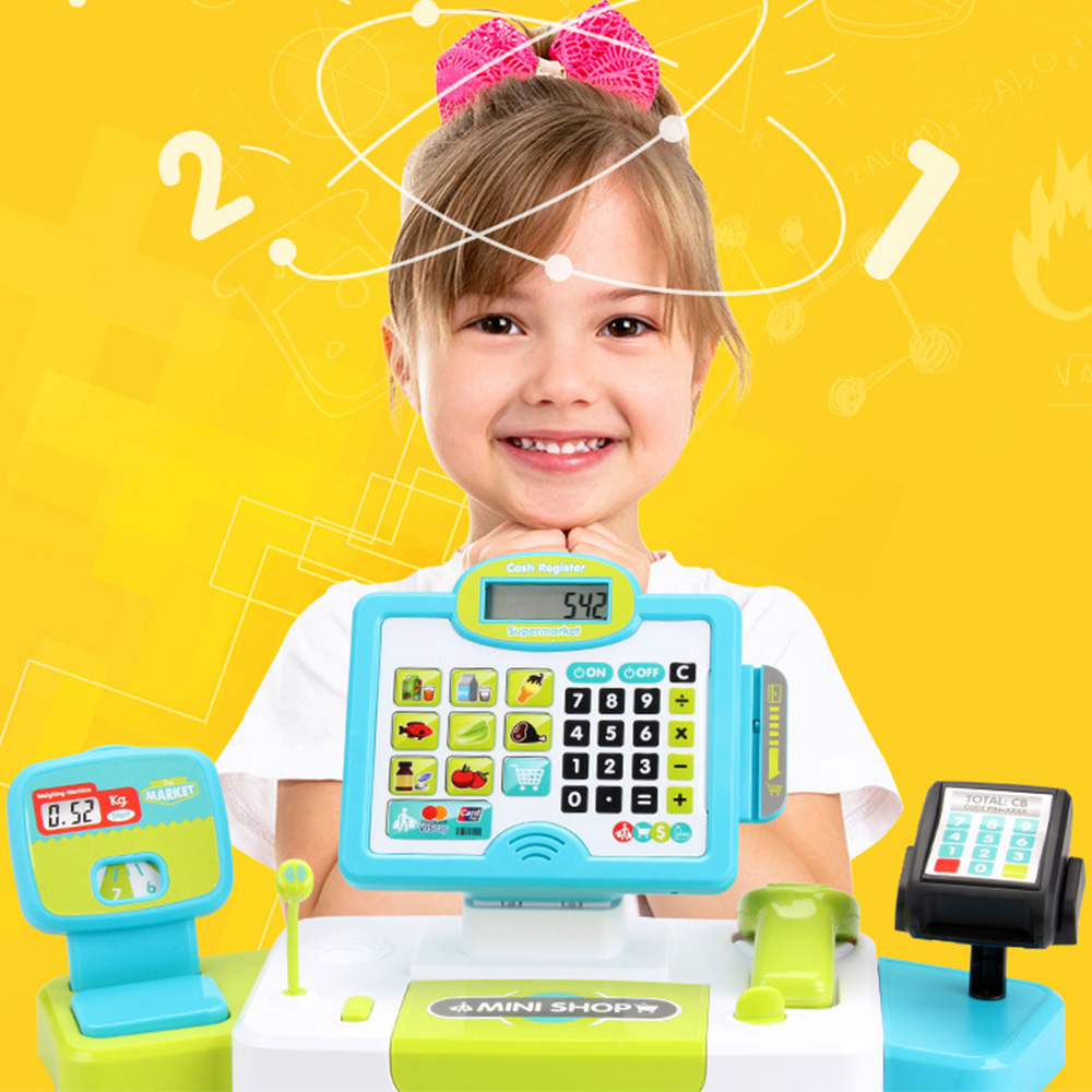 Kids Pretend Game Toys Mini Simulated Supermarket Checkout Counter Role Play Cashier Cash Register SetEarly Educational