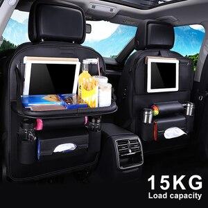 Image 1 - Новая сумка Органайзер из искусственной кожи на заднее сиденье автомобиля, складной органайзер для стола, карман для хранения, дорожная сумка, автомобильные аксессуары