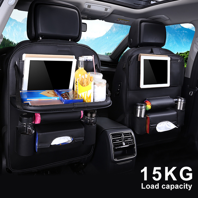 New PU Leather Car Seat Back Bag Folding Table Organizer Pad Storage Pocket Box Travel Stowing Tidying Automobile Accessories