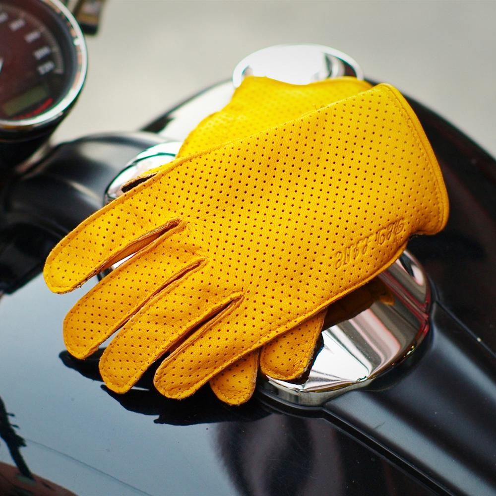 Punching breathable Genuine Leather motorcycle gloves riding gloves motocross gloves guantes moto leisure men's moto glove