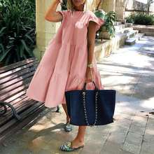 Women Summer Dress 2021 Casual Loose Short Sleeve Party Dresses Sweet O Neck Ruffled A Line Female Robe Dress Plus Size Vestidos