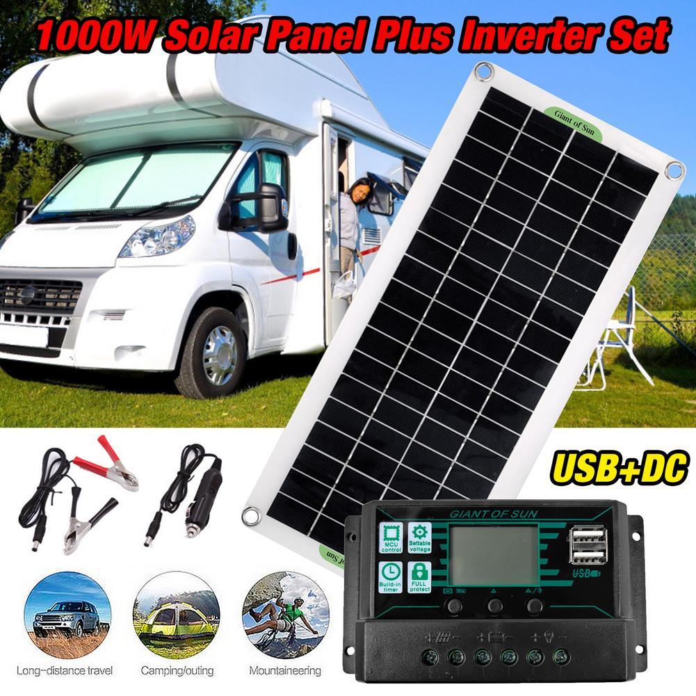 12v 24v sistema de painel solar poderoso kit carregamento solar 1000w inversor solar kit geracao energia