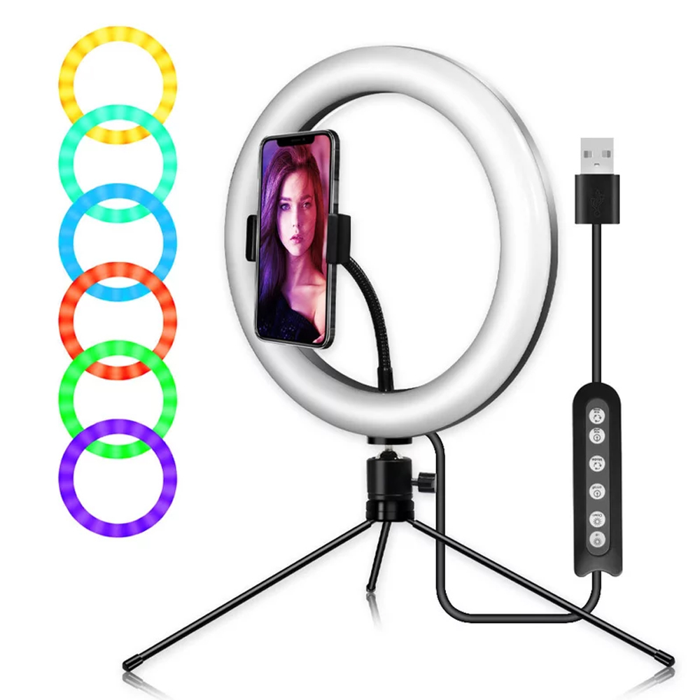 10   RGB Ring Light With Phone Tripod Stand Kit Camera Photography Video Recording Selfie LED light with Tablet Holder for iPad