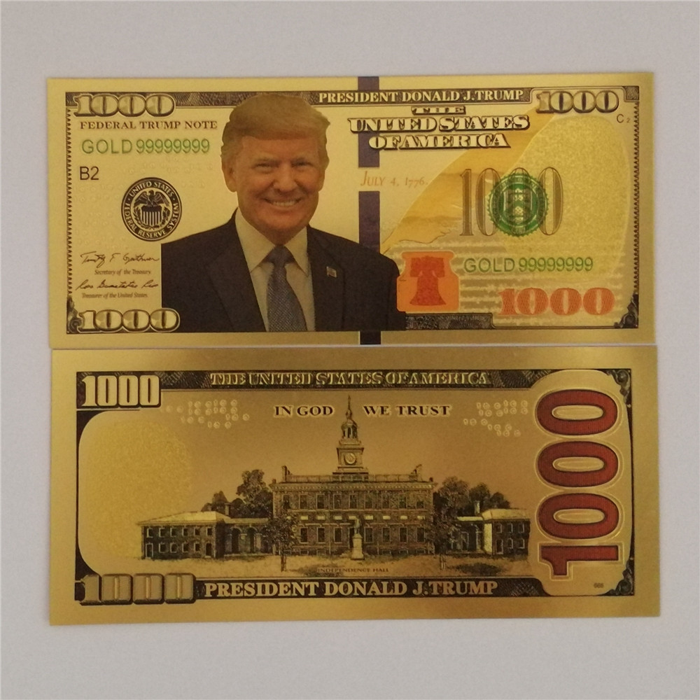10PCS $1000 US Donald Trump Commemorative Coin banknotes President Banknote Non-currency banknotes image
