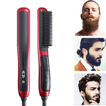 Men's Beard Straightener Bruesh Electric Hair Styler Quick Straightening Hair Beard Comb In 30 Seconds Men Accessories Show Cap(China)