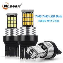 Nlpearl 2x t20 conduziu a lâmpada de sinal t20 7443 wy21w led canbus carro reverso luzes freio 4014 45smd 7440 led w21w transformar a luz do sinal 12v