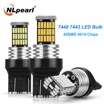 NLpearl 2x T20 Led Signal Lamp T20 7443 WY21W Led Canbus Car Reverse Brake Lights 4014 45SMD 7440 led w21w Turn Signal Light 12V t20 18