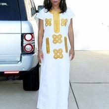 H & D robe africaine pour femmes, blanche, vêtements africains dashiki, bazin riche, grande taille, broderie